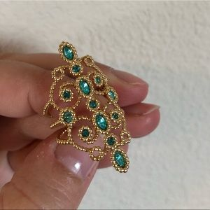 🇦🇹Swarovski ethnic gold and green ring